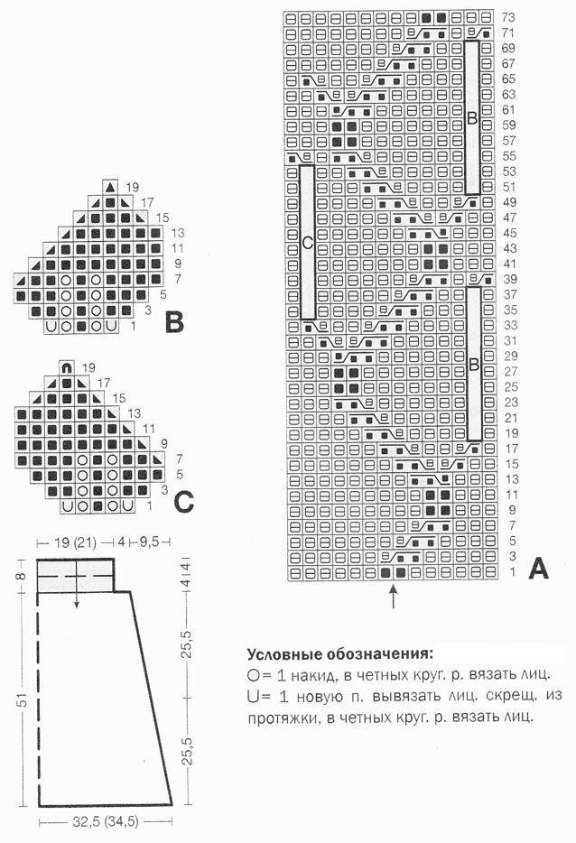 схема вязания листьев для юбки