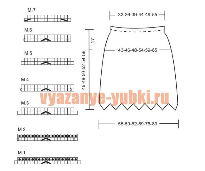 схемы вязания юбки и выкройка