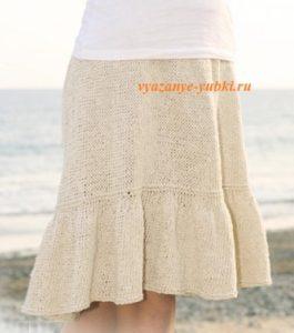 вязаная юбка спицами с воланом